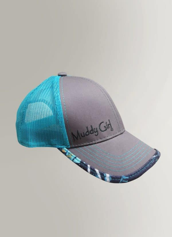 Turquoise Mesh Hat with Camo Accents | Serenity Camo