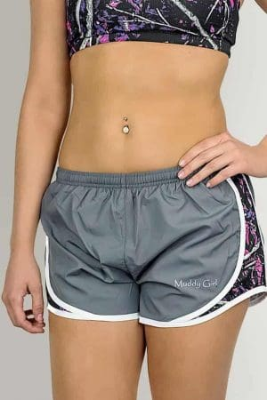 Gray Athletic Shorts | Muddy Girl Camo
